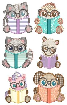 Reading Critters Applique 2 Machine Embroidery Designs by JuJu Diy Embroidered Pillow, Pillow Embroidery, Machine Embroidery Applique, Machine Embroidery Patterns, Applique Patterns, Embroidery Files, Sewing Patterns, Applique Designs Free, Free Machine Embroidery Designs