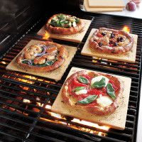 Well, isn't this nifty! Pizza stones for pizza on the grill.