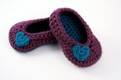 Newborn Crochet Ballet Shoes  // Purple and Teal by lauraanncrochet