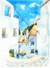 Town street with white houses with orange roofs, plants and wires. Watercolor painting of Cadaques, Spain.