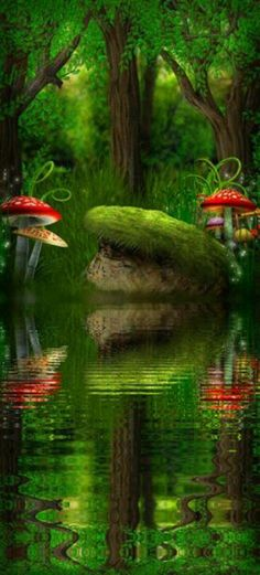 Reminds me of fantasy land. Fantasy World, Fantasy Art, Magical Forest, Dark Forest, All Nature, Fantasy Landscape, Fairy Art, Magical Creatures, Fairy Houses
