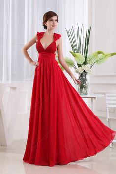 Find Wholesale - A-line Straps Chiffon Floor-length Red Beading Evening Dress at Pickeddresses.com
