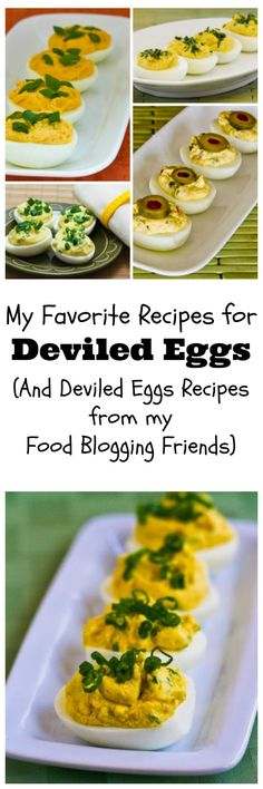 All My Favorite Recipes for Deviled Eggs (plus links for recipes and collections with more than 200 Deviled Eggs Recipes from my Food Blogging Friends.) When you have leftover boiled eggs after Easter, we've got you covered! [from KalynsKitchen.com]