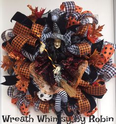 DELUXE Halloween Deco Mesh Wreath with Witch Doll in Orange, Black & White, Fall Wreath, Halloween Decor, Witch Decor by WreathWhimsybyRobin on Etsy