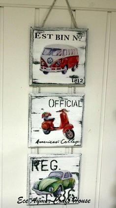I like this idea, but no scooter in the middle, another VW. Hobbies And Crafts, Diy And Crafts, Arte Pallet, Mirrored Picture Frames, Decoupage Vintage, Home And Deco, Porch Decorating, Diy Art, Painting On Wood