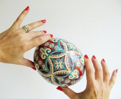 Red and Turquoise Ostrich egg pysanka hand by UkrainianEasterEggs, $260.00