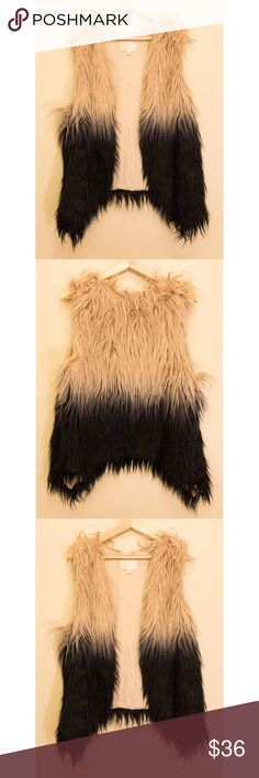 Faux Fur Dip Due Vest Soft faux fur. Wolf like. Dip dyed cream to black. Worn fewer than 5 times. Bought at a boutique. True to size. Soft liner. Super cute!! Skies Are Blue Jackets & Coats Vests