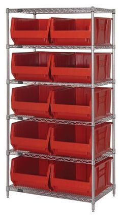 "Quantum Storage Systems WR6-954CL 6-Tier Complete Wire Shelving System with 10 QUS954CL Clear-View Hulk Bins, Chrome Finish, 24"" Width x 36"" Length x 74"" Height by Quantum. $685.53. Genuine Quantum modular wire systems offer a unique combination of shelf and post sizes in a variety of finishes to compliment any application. The split sleeve and grooved numbered posts allow for easy and quick assembly. The all welded shelf construction is supported with architectural w..."