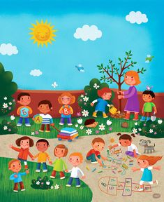 Preschool Playground/ Veseli vrtić on Behance Playground Pictures, Picture Comprehension, Preschool Playground, Happy Mid Autumn Festival, Chinese Lessons, Art Drawings For Kids, Homeschool Kindergarten, School Decorations, Art Wall Kids