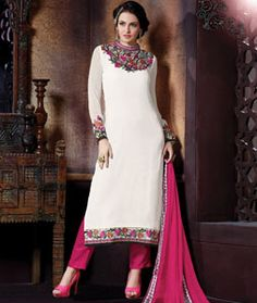 Buy Off White Georgette Pakistani Style Suit 71220 online at lowest price from huge collection of salwar kameez at Indianclothstore.com.