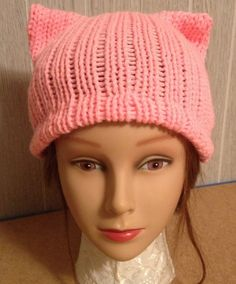 edcfe2824b7db PussyHat Cat beanie Women s March Light Pink PUSSY HAT Kitty Ears Costume 3  Sizes - Free Shipping UsA and Charity Donation