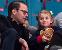 Swedish Princess Estelle and Prince Daniel watched ice hockey match at Hovet