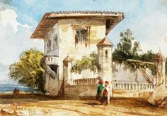 Algérie - Peintre AnglaisWilliam WYLD(1806-1889 ),  quarelle sur crayon rehaussé de gouache et de la gomme arabique  , Titre : Une villa à Alger