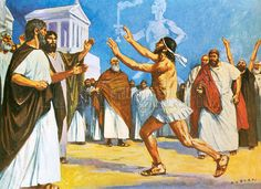 Pheidippides bringing news to Athens in 490 BC of the incredible victory won by Miltiades over the Persians - the inspiration for the modern marathon.