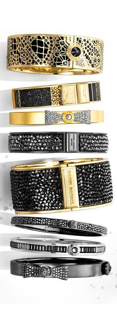 Henri Bendel bangles, arm candy, black and gold jewelry, cuff bracelets Jewelry Box, Jewelery, Jewelry Watches, Jewelry Ideas, Jewelry Accessories, Fashion Accessories, Fashion Jewelry, John Hardy, Bling Bling