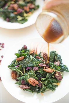 Apples, pecans, and winter kale make a fresh salad even before the greens start to sprout. via @tasteslovely