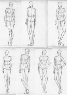 More fashion croquis practice, a little sketchdump of female poses.