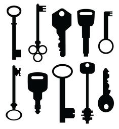 Vintage and Modern Key Silhouette Wall Decal Custom by danadecals