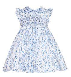 Anavini Infant / Toddler Girls French Blue Toile Smocked Float Dress