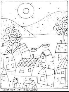 Alfombra De Gancho Craft patrón de papel pueblo costero Folk Arte Abstracto Prim Karla Gerard