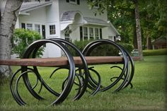 "Forged iron bench out of 1 1/2"" round. This bench weighs about 300lbs but can be taken apart for easier movement. This bench has a variety of seating options from wood to concrete, to stone. It's recommended to have it's location on something other than grass as it's hard to mow around  Price range  $6,500 - $8,500"