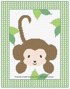 Free Printable Counted Cross Stitch | Jungle Monkey Counted Cross Stitch Pattern Chart Easy | eBay