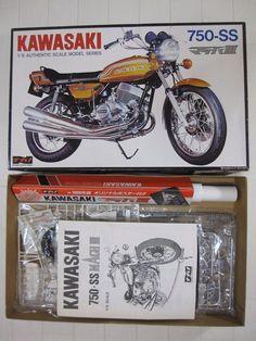 1/8 NAGANO KAWASAKI MACH III 750-SS MODEL KIT W/ 1969 JAPAN ORIGINAL POSTER  #NAGANO