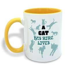 Cat People Gift A Cat Has Nine Lives 11OZ Ceramic Coffee Mug Tea Cup White   Yellow >>> Discover this special cat product, click the image : Cat mug