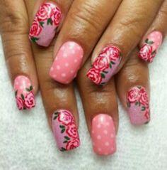 Rose Nails, Fingers, Nail Designs, Hair Beauty, Nail Art, Makeup, Floral, Make Up, Nail Desings