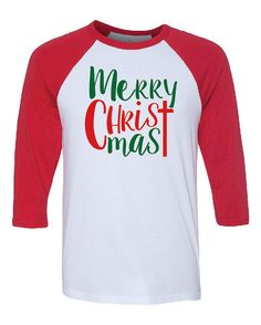 Christmas Shirts. Merry CHRIST mas Shirt. Holiday Shirts. Santa Shirts. Holiday Shirts. Christmas Tshirts. Christmas Clothes. Red and Green. Active Merry Christmas Baseball 3/4 Sleeve T-Shirts. Bella/Canvas brand Unisex Semi-fitted Shirt, 3.6 oz 52% Combed and Ringspun Cotton, 48% Polyester Direct to garment printed for soft wearable feel Care Instructions: This item may be machine washed, but we recommend line drying to preserve garment. Sizing: This product runs true to size, but there…