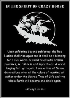 American ~ I pray that this prophecy comes true. ~ Crazy Horse was an Ogala Sioux Chief. Native American Prayers, Native American Spirituality, Native American Wisdom, Native American History, American Indians, Indian Spirituality, Native American Legends, Native American Horses, American Pride