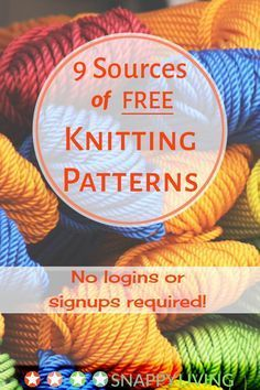 Finding free knitting patterns online can be a hassle, but I've found these 8 websites that offer really good free knitting patterns, with no logins or signups required. Just go get yer free patterns. Knitting Websites, Knitting Help, Easy Knitting, Loom Knitting, Knitting Paterns, Circular Knitting Needles, Knitting Stitches, Knitting Projects, Knit Patterns