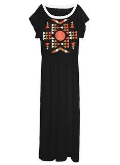 Aztec Native American Tribal Print Slouchy Grecian Goddess Long Maxi Gown by IDILVICE Fashion.