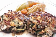 Portobello Mushrooms Stuffed with Spinach & Goat Cheese, With a Side of Braised Cabbage