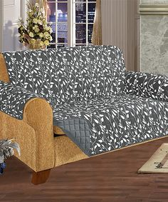 Love this Gray Leaf Reversible Quilted Love Seat Slipcover by Elegance Linen on #zulily! #zulilyfinds