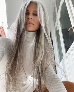 Annika von Holdt - My list of women's hair styles Grey Hair Wig, Long Gray Hair, Silver Grey Hair, Brown Blonde Hair, Lace Hair, Emo Hair, Grey Hair Over 50, White Hair, Gray Hair Women