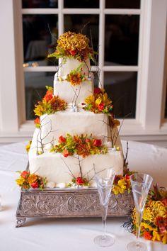 Fall wedding cake from rusticweddingchic.com