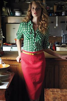 Pink Pencil Skirt + Green Gingham Button-down, casual friday work outfit