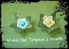 Modelo Mar Turquesa y Amarillo. Alfiler de novia en pasta de papel