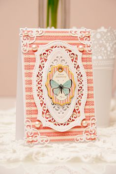 Yana Smakula #Spellbinders Card using the following dies: 5 x 7 Matting Basics B S6-002, Majestic Labels Twenty-Five S5-189, Radiant Rectangles S5-161, Lace Hearts S5-204