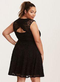 Lace Surplice Back Skater DressLace Surplice Back Skater Dress, DEEP BLACK