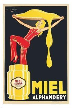miel alphandery VINTAGE AD POSTER classic honey COLLECTORS RARE 24X36 new