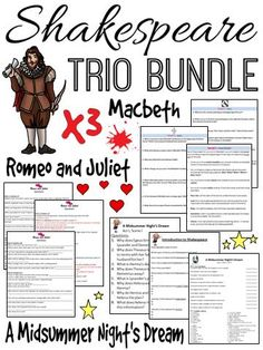 Looking for more than one Shakespeare unit? Check out this 140+ page resource bundle for A Midsummer Night's Dream, Romeo and Juliet, and Macbeth.