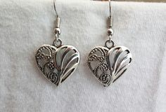 Beautiful pair of Silver Earrings with Filigree Heart and Hypoallergenic Surgical Steel Ear Wires by COOLSTUFFGOODPRICES on Etsy