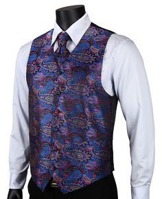VE15 Purple Blue Paisley Top Design Wedding Men 100% Silk Waistcoat Vest Pocket Square Cufflinks Cravat Set for Suit Tuxedo-in Vests & Waistcoats from Men's Clothing & Accessories on Aliexpress.com | Alibaba Group