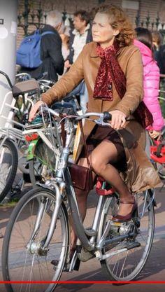 panty in Girl bike riding dress