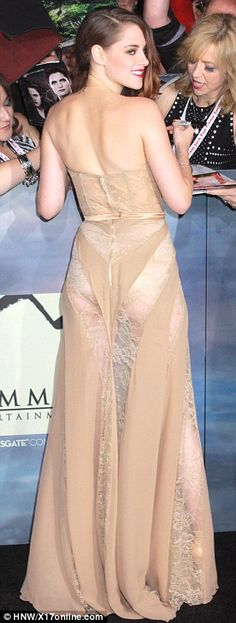 Even celebs make mistakes - Scandalous #KristenStewart stepped in uber sheer lace dress literally leaving nothing to the imagination at the world premiere of Breaking Dawn - Part 2 in Los Angeles