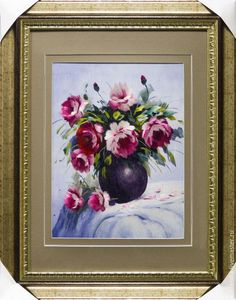 Купить Картина цветов Пионы - комбинированный, вышивка, ручная авторская работа, вышивка шелком