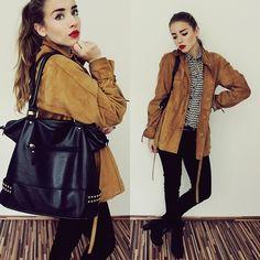 Vintage Leather Jacket, Forever 21 Bag, H&M Jeans, H&M Blouse