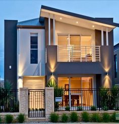 Photo of a wrought iron house exterior from real Australian home - House Facade… 2 Storey House Design, Two Storey House, Bungalow House Design, Small House Design, Modern House Design, Facade Design, Exterior Design, Facade House, House Facades